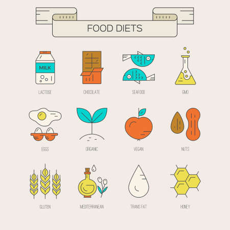 Vegetarian, paleo, gluten free - icons and illustrations of different diets. Food intolerance symbols.Vector line collection of modern icons.