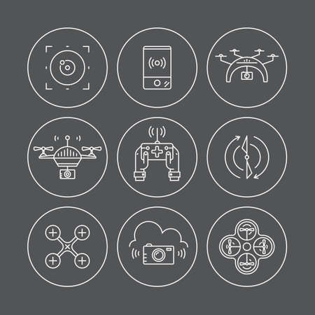 Line vector set of drone icons. Different views of drone and drone equipment. Modern vehicles for photography, delivery and military purposes. Technology and innovation symbols. Illustration