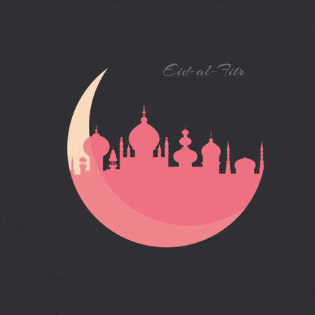 Beautiful mosque in a shape of a crescent - islamic vector template for Muslim community festival Eid Mubarak or Eid Al Fitr. Illustration