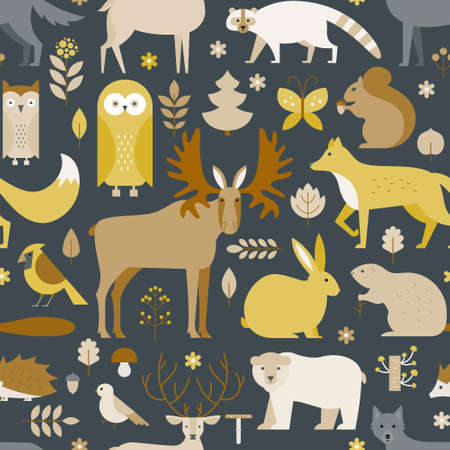 Pattern with forest animals mae in flat style. Fox, bear, wold, squirrel and other mammals on seamless background. Nature and animals pattern. Illustration