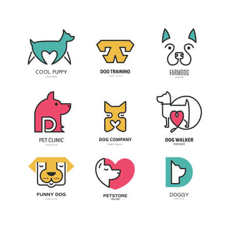Set of logotypes with dogs. Dog logo collection. Logotype for vet clinic, pet shop, dog training or dog shelter. Set of dog related logo designs. Editable design element for your company. Vector logo template. Archivio Fotografico - 116800251