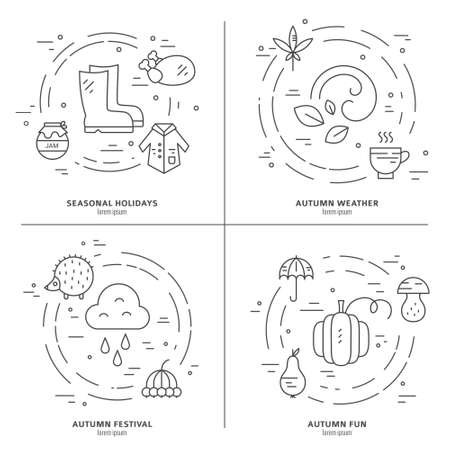 Collection of autumn design elements. Fall symbols arranged in circles. Perfect modern design element for flyer, banner, autumn sale. Line style vector.