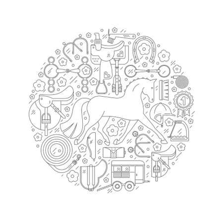 Ilustración conceptual de círculo equino de estilo de línea moderna con diferentes elementos de equitación que incluyen caballo, silla de montar, bit, casco y otros equipos. Vector ecuestre. Ilustración de cuidado de caballos. Ilustración de vector