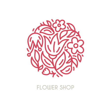 Line style vector logo with beautiful flowers. Perfect logo for flower shop, flower delivery or beauty salon. Branding design element - isolated and easy to use. Organic cosmetic symbol. Vettoriali