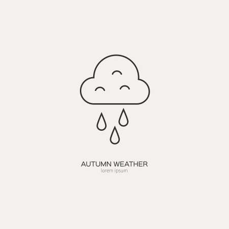 Clouds and rain symbol made in line style vector. Weather forecast design. Ilustração
