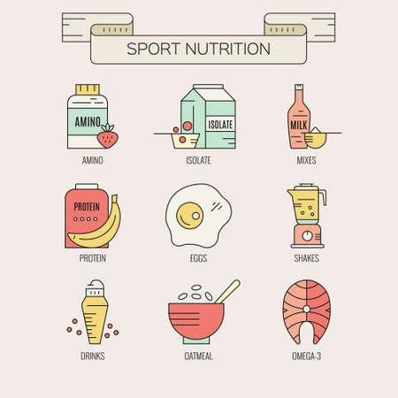 Sport nutrition icons. Vector symbols of healthy food. Design elements for menu, diet symbols. Banco de Imagens - 116800261