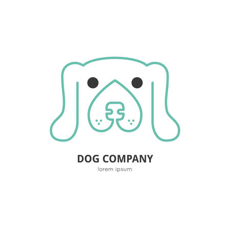 Single logo with a dog for veterinarian clinic, pet shop, dog walker, dog training. Easy to use and edit. Vector logo series.