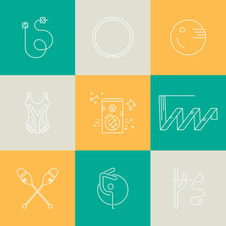 Collection of line modern vector symbols of rhythmic gymnastics, including ribbon, ball, clubs. Unique and modern set isolated on background.  Summer sport collection.