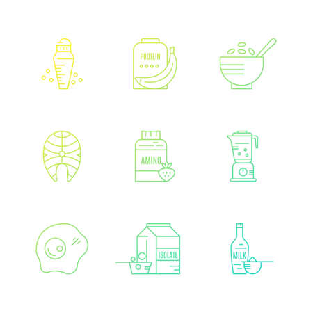 Gym and workout diet symbols made in vector - protein shake, amino powder. Collection of icons with sport nutrition objects. Healthy food.