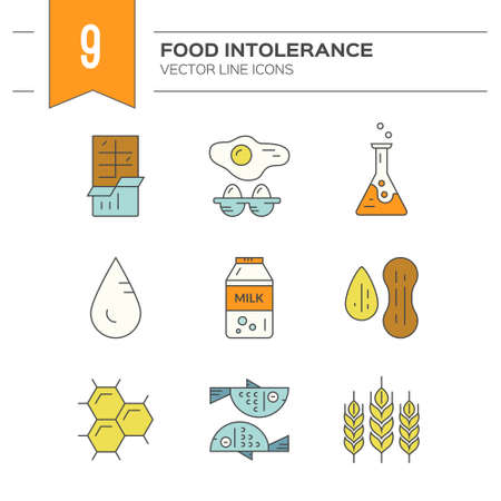 Food allergy symbols made in vector. Food intolerance icons for restaurants, farm markets and menu. Special diet illustration. Ilustração