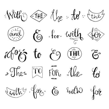 catchword: Big collection of black and white hand sketched ampersands and catchwords made in vector. Calligraphic detailes. Handsketched set of design elements. Illustration