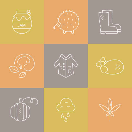 pictogramm: Collection of vector autumn icons. Vector pictogramm set. Unique and modern set of linear icons isolated on background.