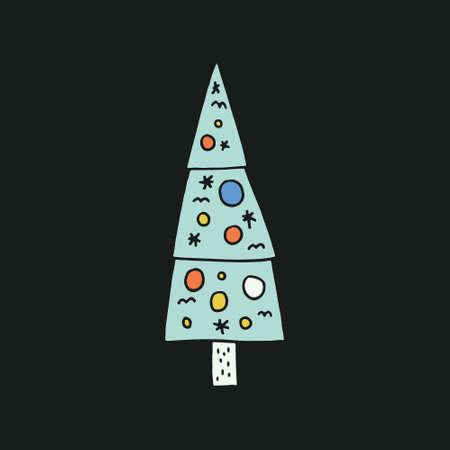 xmas decoration: Christmas tree illustration. Xmas design series. Isolated tree with decoration. Illustration