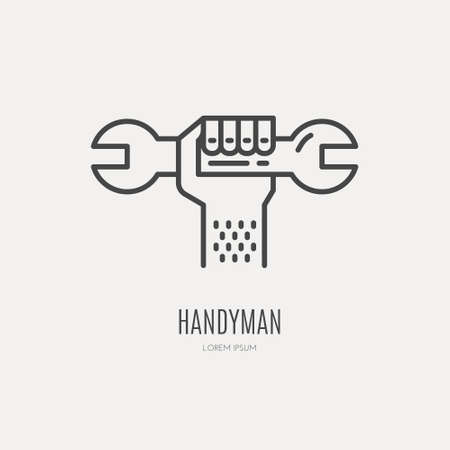 service provider: Modern line style logo for repair company or plumbing service provider with hand holding wrench. Isolated design element - text can be easily changed for your company name.