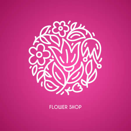 beauty shop: Line style vector logo with beautiful flowers. Perfect logo for flower shop, flower delivery or beauty salon. Branding design element - isolated and easy to use. Organic cosmetic symbol. Illustration