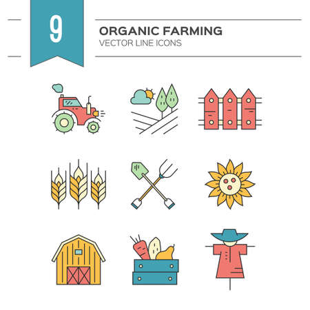 Colorful linear symbols of agriculture. Perfect clean vector. Farming symbols.