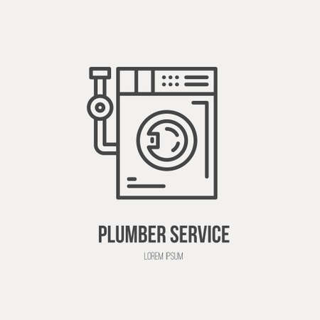 company name: Modern line style logo for repair cpmpany or plumbing service provider with washing machine and pipe. Isolated design element - text can be easily changed for your company name.