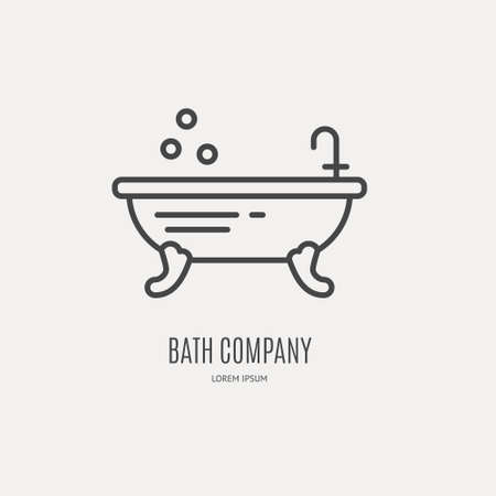 service provider: Modern line style logo with freestanding bathtube - vector design for bath company, spa salon, plumbing service provider.
