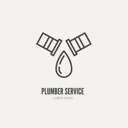 service provider: Modern line style logo for repair company or plumbing service provider with leaking pipe. Isolated design element - text can be easily changed for your company name.