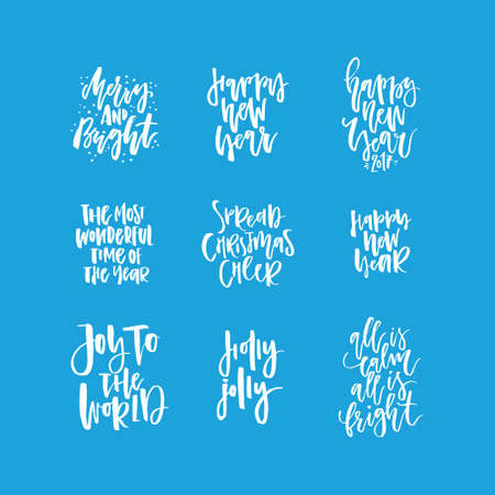 phrases: Christmas lettering collection. Unique handdrawn phrases for Christmas and New Year invitations and greeting cards.