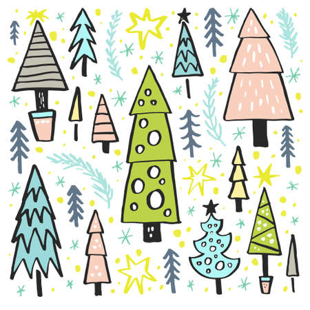 collection series: Christmas tree collection. Xmas design series. New Year or Christmas design element. Vector holiday clipart.