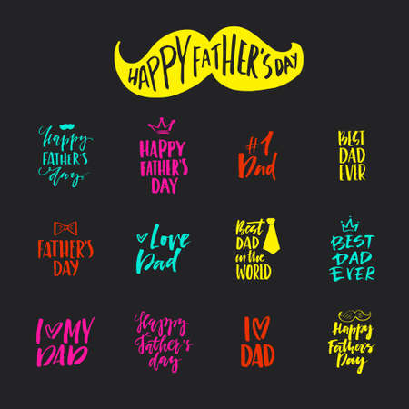 dad: Unique hand lettering design for father's day. Hand crafted lettering for apparel design, postcard, mug or poster. Textured vector art. Happy father's day vector element. Illustration
