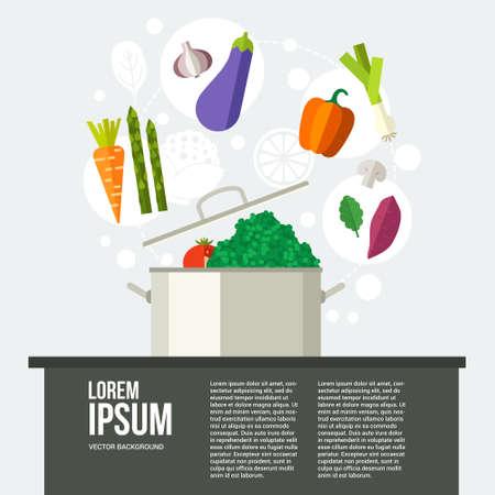 鍋の周りの健康食品の概念図。ダイエットのコンセプトです。あなたのテキストのための場所。バナーやチラシ healhy 野菜添え。フラットのベクトル  イラスト・ベクター素材