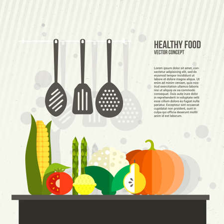 workshop: Conceptual illustration of healthy food made in flat style vector. Modern kitchen illustration with place for your text.