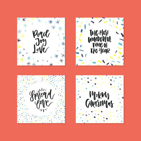 card templates with decorations and hand lettering quotes for