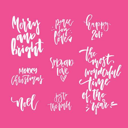 Colección De Letras De Navidad Dibujado A Mano Frases únicas Para Navidad Y Año Nuevo Invitaciones Y Tarjetas De Felicitación