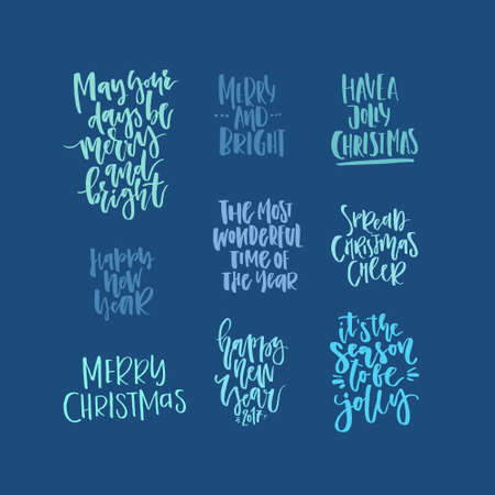 Christmas lettering collection. Unique handdrawn phrases for Christmas and New Year invitations and greeting cards.