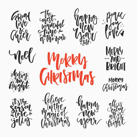 Christmas Lettering Collection. Unique Handdrawn Phrases For ...