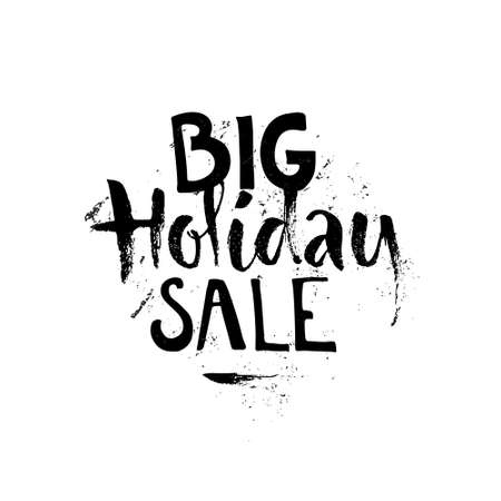 centres: Big Holiday Sale - handdrawn sign on white background. Lettering for shops and shopping centres.