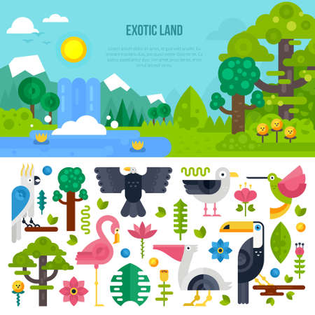 waterfall in forest: Vector illustration of a fantasy world with exotic forest, lake and waterfall and different colorful birds. Interface for web or game background. Illustration