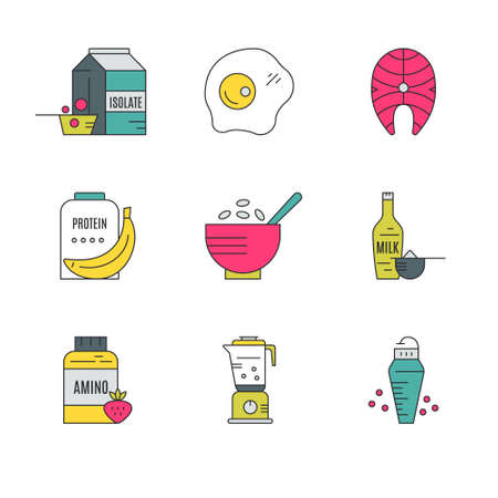 protein food: Collection of icons with sport nutrition objects. Healthy food. Gym and workout diet symbols made in vector - protein shake, amino powder. Illustration