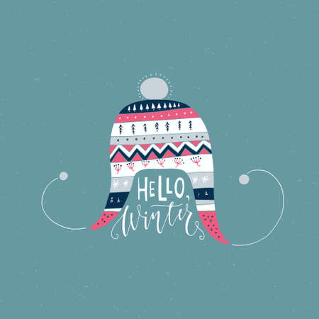 say hello: Handdrawn illustration of a knitted heat and lettering Hello Winter. Winter card design. Illustration