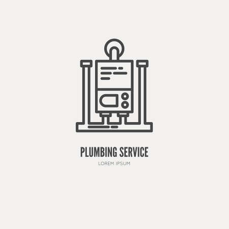 icon series: Modern line style logo for repair company or plumbing service. Vector line icon series.