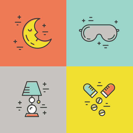 sleeping pills: Colorful vector icons with different sleep and insomnia symbols including pillow, alarm clock, sleeping mask.