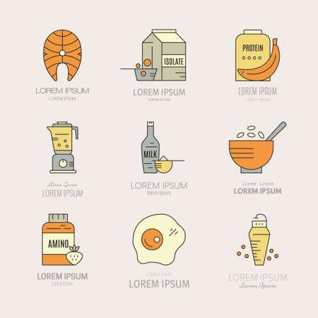 Inzameling van pictogrammen met sportvoeding objecten. Gezond eten. Gym en training dieet symbolen in vector - proteïne shake, aminozuur poeder. Stock Illustratie