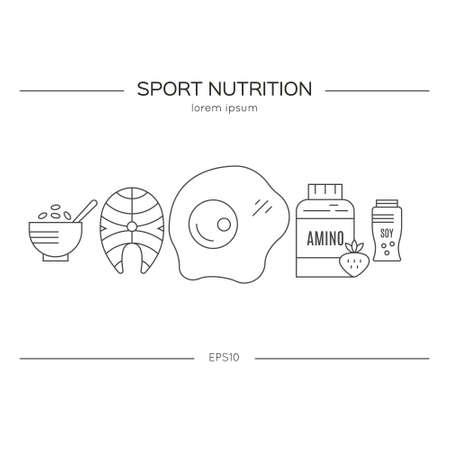 Sport nutrizione o illustrazione dieta made in vettoriale. Serie stile di vita sano.