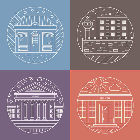 incarcerated: Vector illustration of different govenmental buildings including museum, post office, prison. Trendy line style vector illustration. City architecture concept. Government buildings. Illustration
