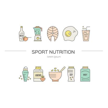 Sport voeding of dieet illustratie gemaakt in vector. Gezonde levensstijl serie.