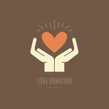non profit: Human hands holding heart. Love, peace and donation concept. Vector illustration for non-profit organization, charity event.