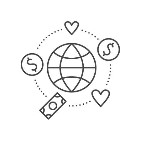 nonprofit: Globe surrounded by hearts and money - concept for donations, charity, fundraising. Vector line style label for non-profit organization or fundraising event.