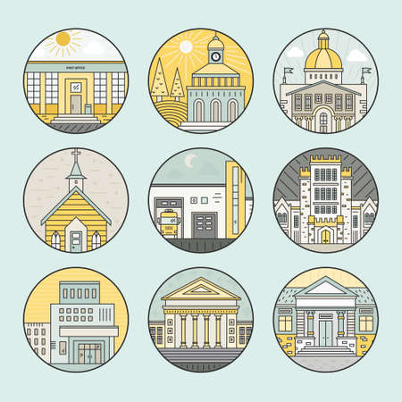 incarcerated: Vector illustration of different govenmental buildings including police station, post office, capitol. Trendy line style vector illustration. City architecture concept. Government buildings.