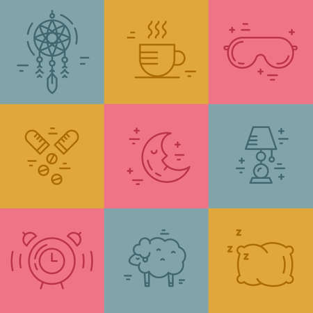 insomnia: Vector line pictograms on insomnia. Sleep problems symbols. Illustration