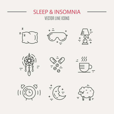 insomnia: Sleep problems and insomnia icons. Vector line series.