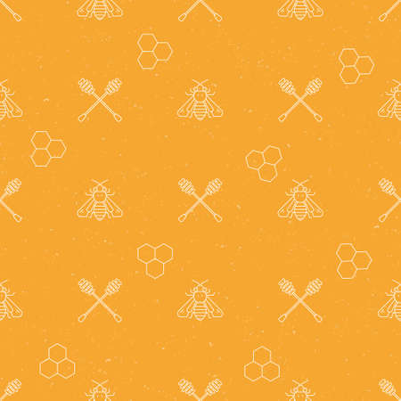 mead: Seamless pattern collection - vector background with honey and bee elements.