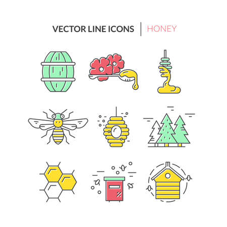Colorful icons with honey, bee, hiver and other bee labor related elements. Modern vector honey collection. Vector Illustration