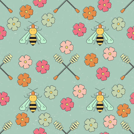 Cute seamless vector pattern with bee and honey elements. Illustration